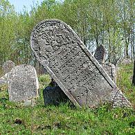 A half fallen tombstone